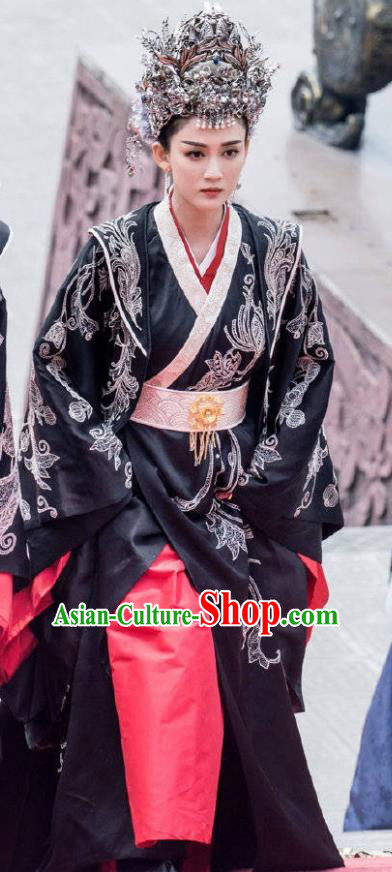 Chinese Drama Queen Hanfu Dress Ancient Sui Dynasty Imperial Empress Dugu Embroidered Costumes and Headpiece Complete Set