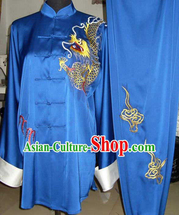 Chinese Traditional Kung Fu Competition Costume Tai Chi Martial Arts Embroidered Dragon Blue Clothing for Men