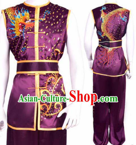 Chinese Traditional Kung Fu Competition Embroidered Dragon Purple Costume Tai Chi Martial Arts Clothing for Men