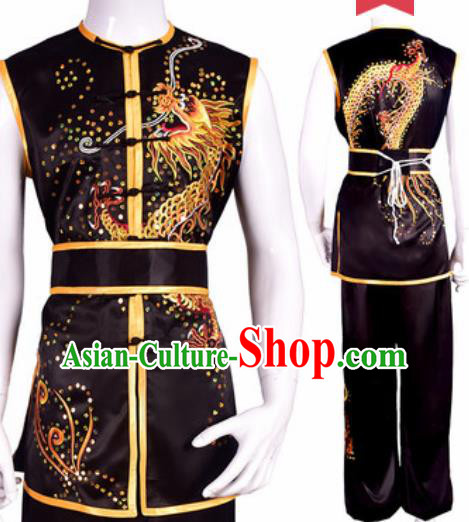 Chinese Traditional Kung Fu Competition Embroidered Dragon Black Costume Tai Chi Martial Arts Clothing for Men