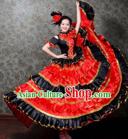 Chinese Traditional Spring Festival Gala Dance Costume Opening Dance Stage Performance Big Swing Dress for Women