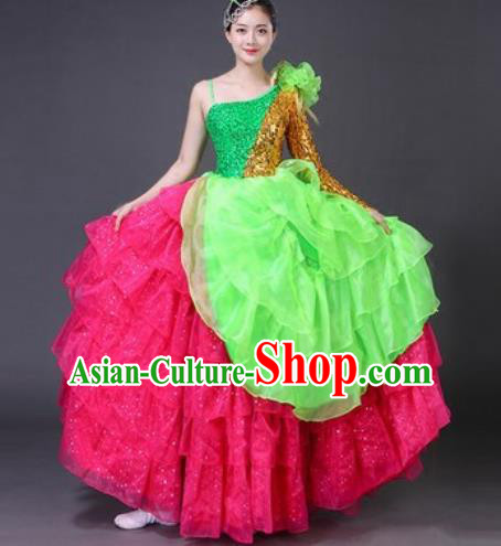 Chinese Traditional Spring Festival Gala Dance Costume Opening Dance Stage Performance Rosy Veil Dress for Women