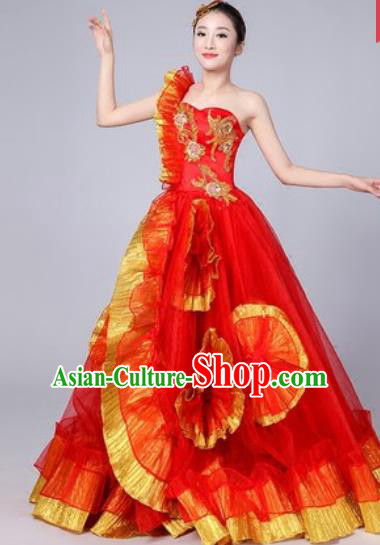 Chinese Traditional Spring Festival Gala Dance Costume Opening Dance Stage Performance Red Veil Dress for Women