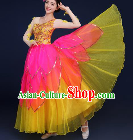 Chinese Traditional Peony Dance Stage Performance Yellow Dress Spring Festival Gala Dance Costume for Women