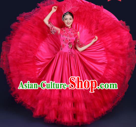 Chinese Traditional Peony Dance Stage Performance Rosy Veil Dress Spring Festival Gala Dance Costume for Women