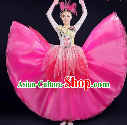 Chinese Traditional Opening Dance Rosy Dress Spring Festival Gala Stage Performance Costume for Women
