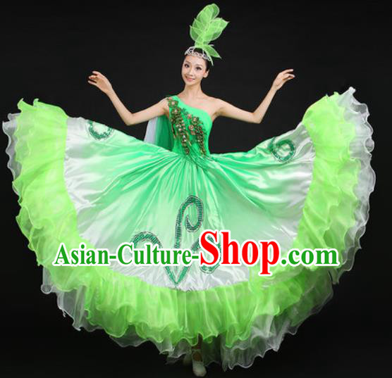 Chinese Traditional Opening Dance Green Dress Spring Festival Gala Stage Performance Costume for Women