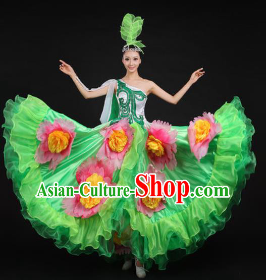 Chinese Traditional Opening Peony Dance Green Dress Spring Festival Gala Stage Performance Costume for Women