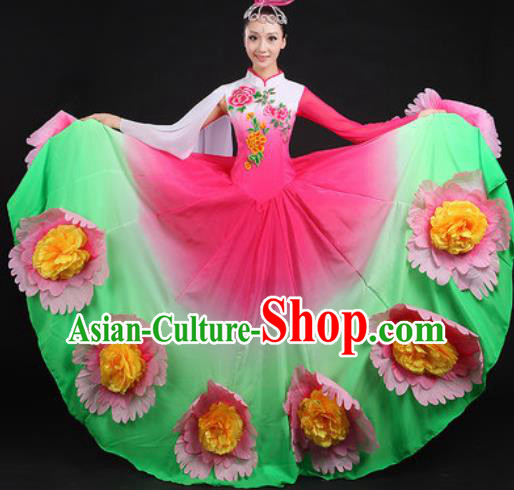 Chinese Traditional Classical Dance Green Dress Spring Festival Gala Stage Performance Costume for Women