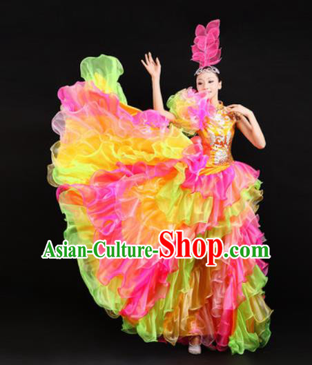 Chinese Traditional Opening Dance Bubble Dress Spring Festival Gala Stage Performance Costume for Women