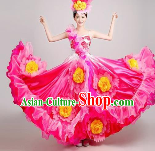 Chinese Traditional Opening Dance Peony Dance Rosy Dress Spring Festival Gala Stage Performance Costume for Women