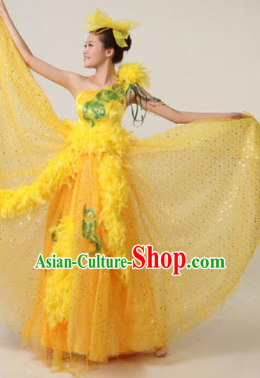 Chinese Traditional Opening Dance Yellow Feather Dress Spring Festival Gala Stage Performance Costume for Women