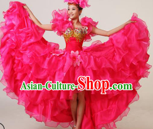Chinese Traditional Opening Dance Rosy Bubble Dress Spring Festival Gala Stage Performance Costume for Women