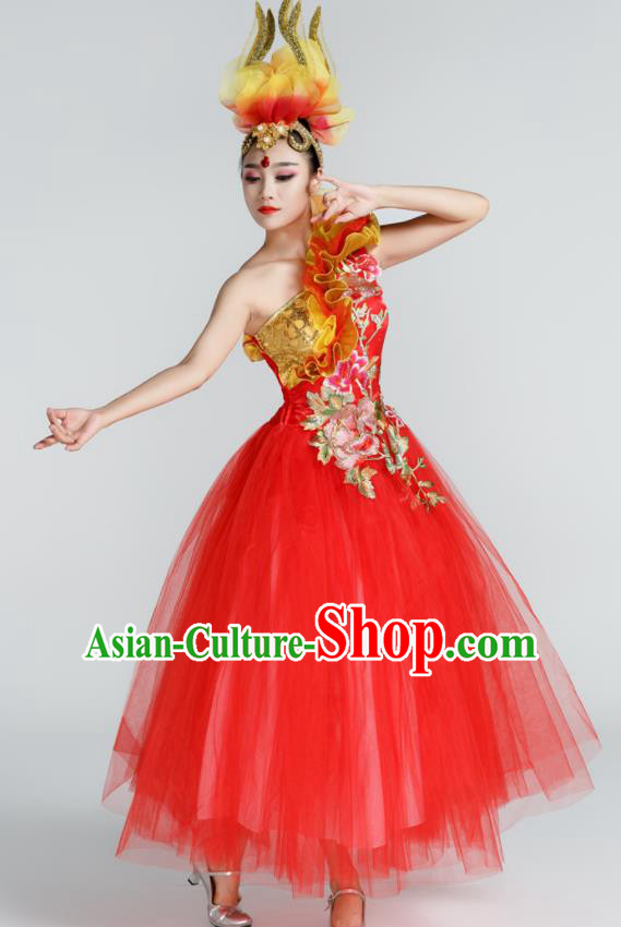 Chinese Traditional Opening Dance Red Veil Dress Spring Festival Gala Stage Performance Chorus Costume for Women
