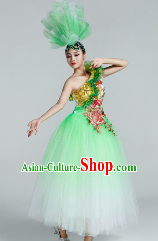 Chinese Traditional Opening Dance Green Veil Dress Spring Festival Gala Stage Performance Chorus Costume for Women
