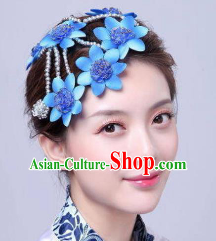 Chinese Traditional Classical Dance Hair Accessories Folk Dance Blue Flowers Hair Stick for Women