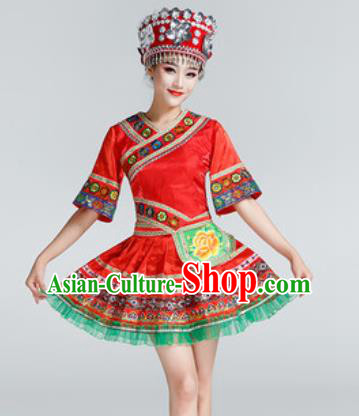Chinese Traditional Ethnic Dance Costume Miao Nationality Stage Performance Red Dress for Women