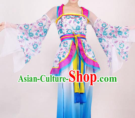 Chinese Traditional Classical Dance Costume Umbrella Dance Stage Performance Blue Dress for Women