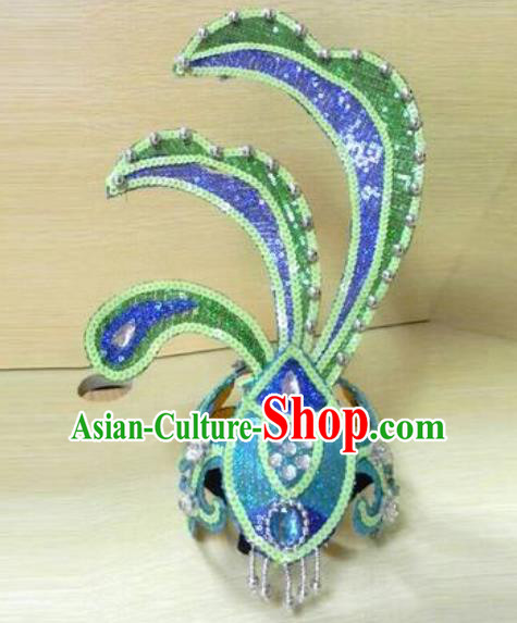 Chinese Traditional Classical Dance Hair Accessories Peacock Dance Headwear for Women