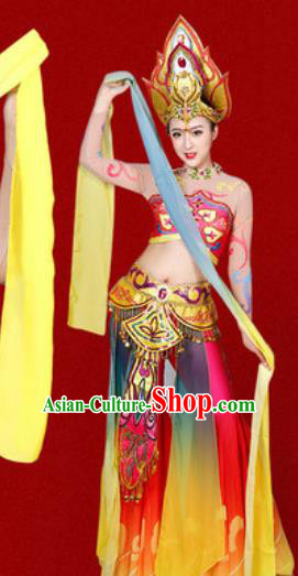 Chinese Traditional Classical Dance Costume Flying Peri Stage Performance Dress for Women