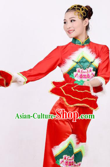 Chinese Traditional Folk Dance Costume Fan Dance Stage Performance Red Clothing for Women