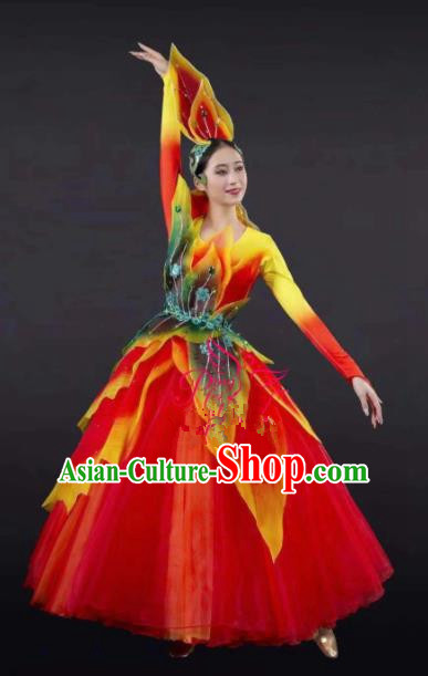 Chinese Traditional Spring Festival Gala Opening Dance Red Dress Modern Dance Stage Performance Costume for Women