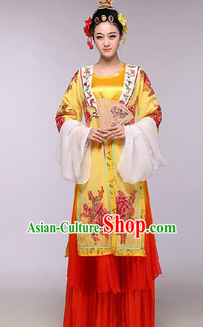 Chinese Traditional Beijing Opera Costume Classical Dance Stage Performance Yellow Dress for Women