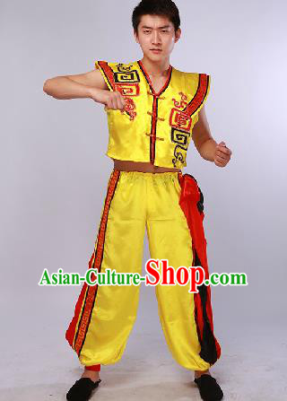 Chinese Traditional Fan Dance Costume Folk Dance Stage Performance Yellow Clothing for Men