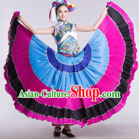 Chinese Traditional Ethnic Dance Costume Yi Nationality Dance Stage Performance Dress for Women