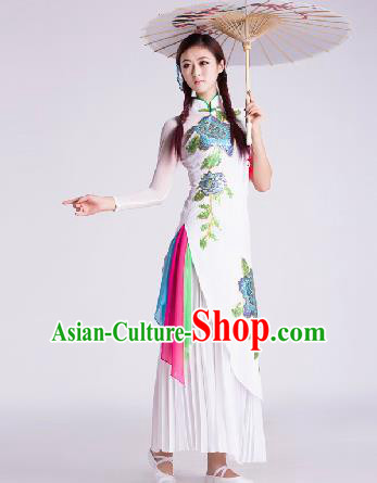 Chinese Traditional Umbrella Dance Costume Classical Dance Stage Performance White Clothing for Women