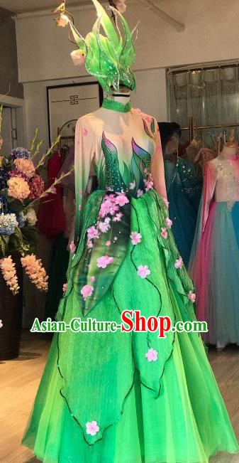 Chinese Traditional Spring Festival Gala Opening Dance Green Dress Modern Dance Stage Performance Costume for Women