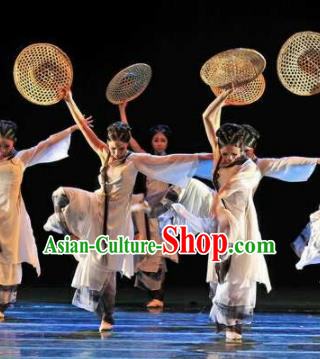 Chinese Traditional Classical Dance Clothing Bamboo Hat Dance Stage Performance Costume for Women