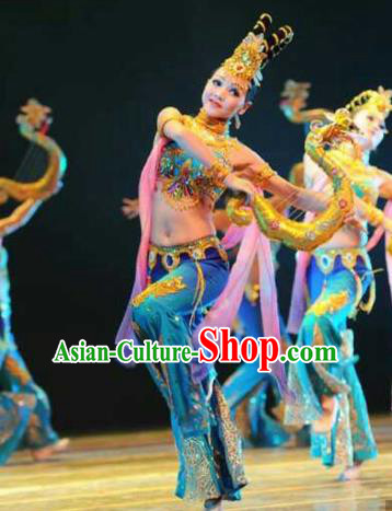 Chinese Traditional Flying Peri Dance Clothing Classical Dance Stage Performance Costume for Women