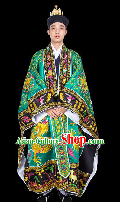 Chinese Traditional Taoism Costume National Taoist Priest Embroidered Dragons Green Cassock for Men
