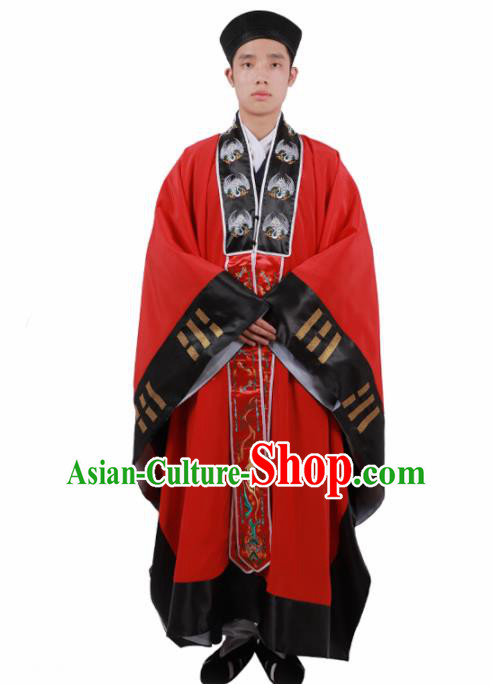 Chinese Traditional Taoism Costume National Taoist Priest Embroidered Cranes Bagua Red Cassock for Men