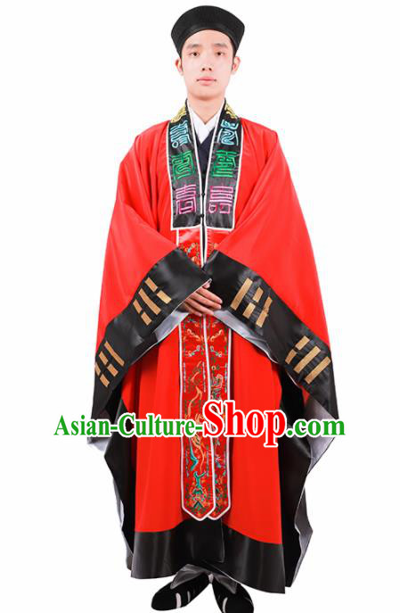 Chinese Traditional Taoism Costume National Taoist Priest Embroidered Bagua Red Cassock for Men
