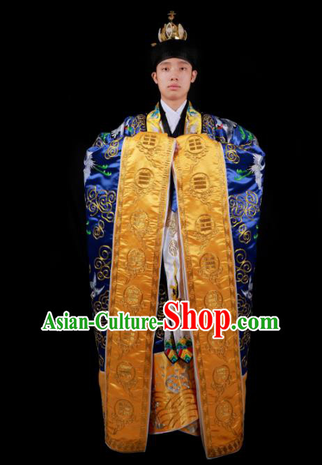 Chinese National Taoist Priest Embroidered Crane Royalblue Cassock Traditional Taoism Rites Costume for Men
