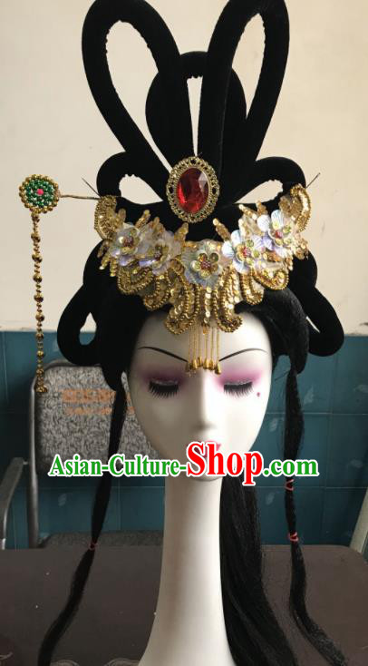 Chinese Traditional Beijing Opera Tassel Hairpins and Wigs Sheath Peking Opera Princess Hair Accessories for Women