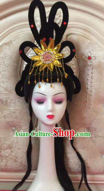 Chinese Traditional Beijing Opera Princess Wig Sheath Peking Opera Peri Chignon Hair Accessories for Women