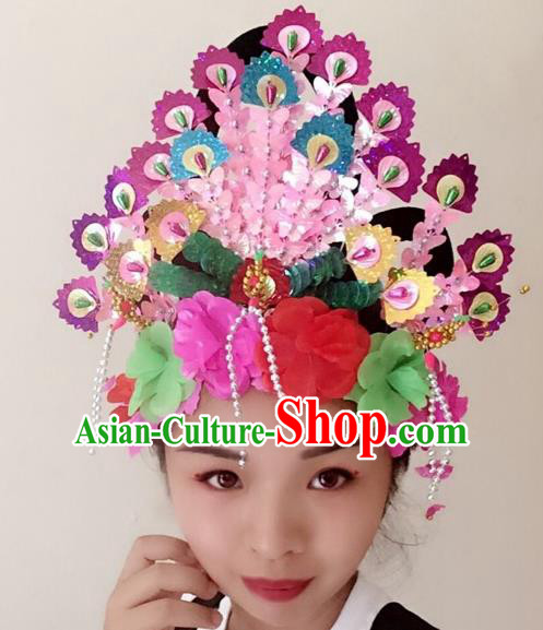 Chinese Traditional Beijing Opera Rosy Phoenix Coronet Headwear Peking Opera Diva Hair Accessories for Kids