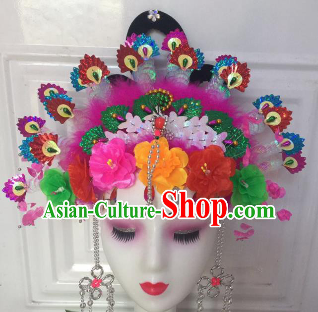 Chinese Traditional Beijing Opera Fairy Phoenix Coronet Headwear Peking Opera Diva Hair Accessories for Kids