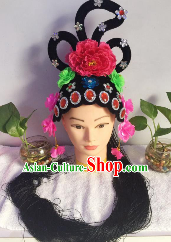 Chinese Traditional Beijing Opera Young Lady Wig Sheath Peking Opera Peri Chignon Hair Accessories for Women