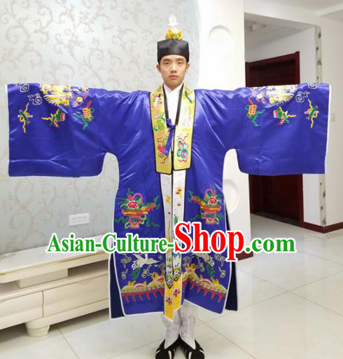 Chinese National Taoism Embroidered Royalblue Cassock Traditional Taoist Priest Rites Costume for Men