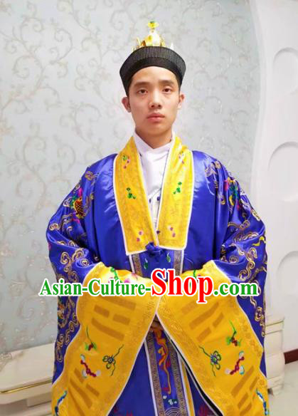Chinese National Taoism Embroidered Dragons Deep Blue Priest Frock Cassock Traditional Taoist Priest Rites Costume for Men