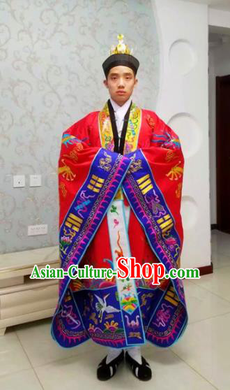 Chinese National Taoism Red Priest Frock Embroidered Cassock Traditional Taoist Priest Rites Costume for Men