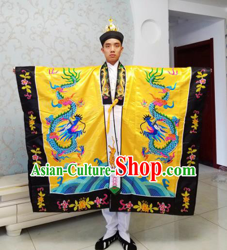 Chinese National Taoism Priest Frock Embroidered Golden Cassock Traditional Taoist Priest Rites Costume for Men
