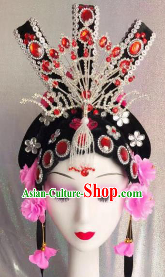 Chinese Traditional Beijing Opera Imperial Consort Wigs and Hairpins Headwear Peking Opera Diva Hair Accessories for Women