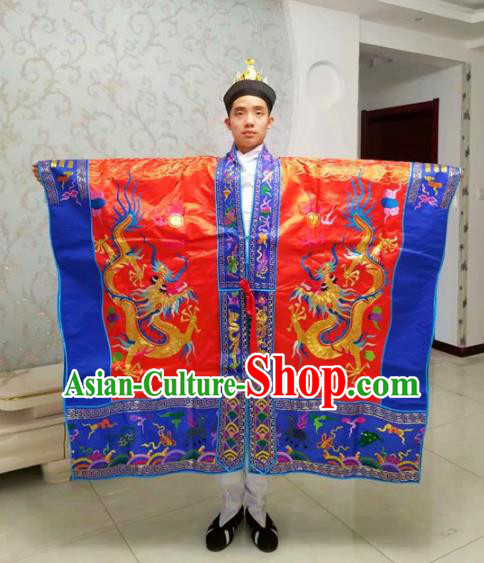 Chinese National Taoism Priest Frock Embroidered Dragons Red Cassock Traditional Taoist Priest Rites Costume for Men