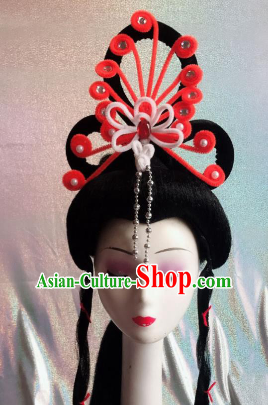 Chinese Traditional Beijing Opera Peri Orange Phoenix Hairpins Peking Opera Diva Hair Accessories for Women
