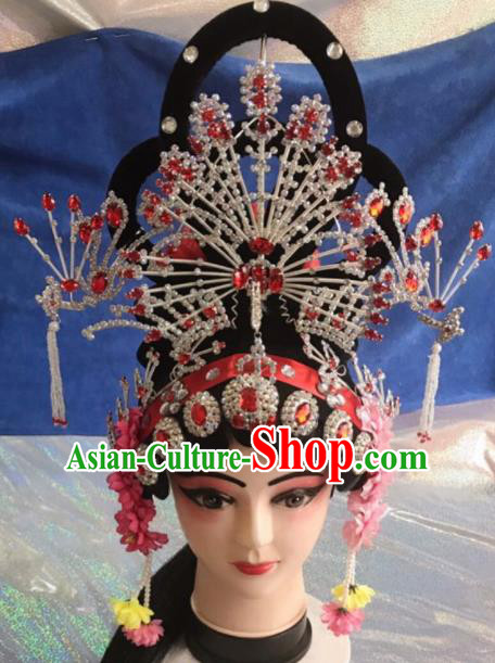 Chinese Traditional Beijing Opera Imperial Consort Wigs and Phoenix Coronet Hairpins Peking Opera Peri Hair Accessories for Women